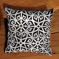 Hand-Printed Decorative Pillow Cover -  Black and White Pillow, Cotton Twill Fabric, Modern Graphic Iron Gate Pattern Decorative Pillow