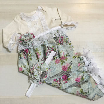 Newborn Girl Take Home Outfit-Newborn Girl Floral Gown-Newborn Layette Headband-Newborn Baby Girl Coming Home Outfit-Infant Sleeper Gown