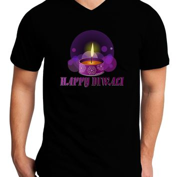 Happy Diwali Purple Candle Adult Dark V-Neck T-Shirt by TooLoud