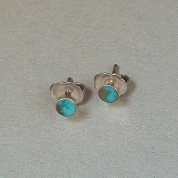 Old Pawn Vintage Native American NAVAJO Earrings TURQUOISE Earring Studs STERLING Silver c.1950s