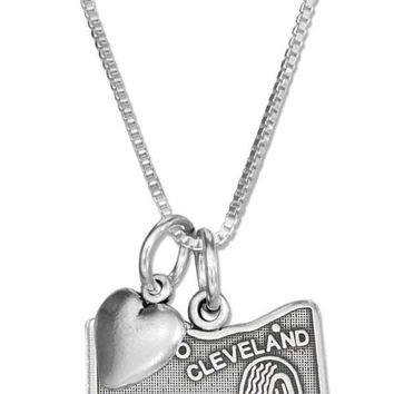 "Sterling Silver 18"" Ohio State Pendant Necklace With Heart Charm"