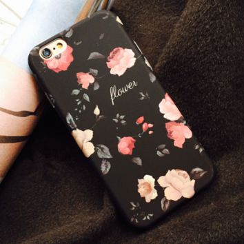 Fashion peony flower printed plastic Case Cover for Apple iPhone 7 7Plus 6 Plus 6 -05012