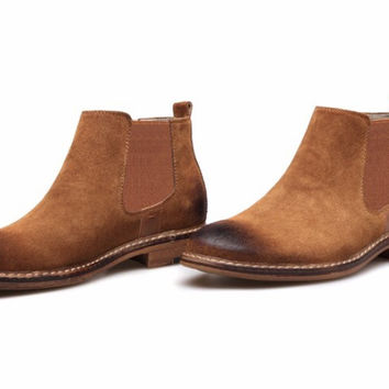 Distressed Suede Chelsea Boots Tan