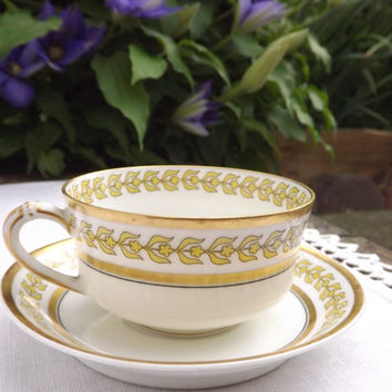 Vintage Tea Cup and Saucer, Art Deco Floral Pattern, Bone White China with Gold Band, Haviland Limoges France