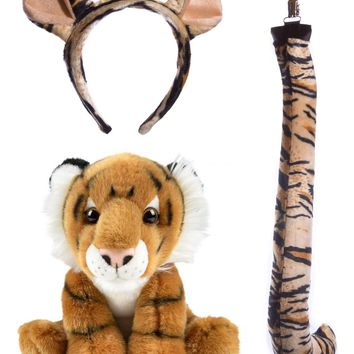 Stuffed Plush Tiger Ears Headband and Tail Set with Baby Plush Toy Tiger Bundle for Pretend Play Animals Dress Up
