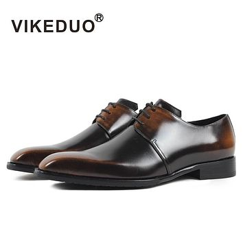 VIKEDUO Luxury Brand Vintage Man's Shoes Handmade Party Wedding Dress Shoe Genuine Leather Hand Painting Footwear 2017 Newest