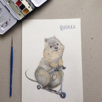 Happy quokka illustration, nursery art print, cute marsupial, mothers day,