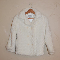 Vintage 90s White Faux Fur Jacket Fuzzy Crop Jacket Shrug Jacket Rave Club Kid Cropped Faux Fur Coat Size Small 7/8