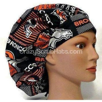 Women's Bouffant, Pixie, or Ponytail Surgical Scrub Hat Cap in Denver Broncos Squares
