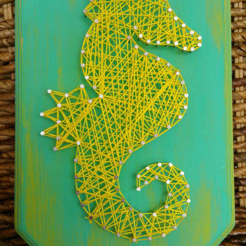 Distressed Wooden String Art Seahorse Sign, Lime Gree Blue Yellow, Nautical Home Decor, Small Wall Hanging/Shelf Sitting, Made to Order
