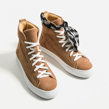 HIGH-TOP LEATHER SNEAKERS WITH SCARF DETAILS