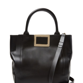 Roger Vivier Women's Ines Small Leather Shopping Tote - Black