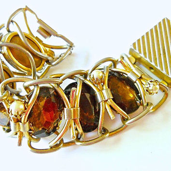 Brown Glass Massive Bracelet, Haute Couture Gold Tone, Vintage