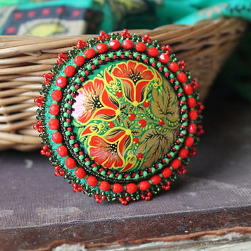 Beaded Flower Brooch Hand Painted Folk Style Jewelry Russian Style Bead Embroidery Red Green Gold Cabochon Brooch Gift for her