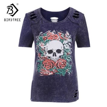 Women's Casual Shirt Cotton Skull Print O-Collar Hole