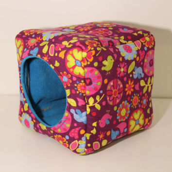 Reinforced Hedgehog Cube Guinea Pig Cube Hamster Home Chinchilla Hidey Cavy Cozy Hedgie Cosy Bright Flowers Birds Flannel Fleece House