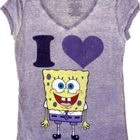 Spongebob SquarePants I Love Heart Spongebob V-Neck Heathered Lilac Juniors T-shirt