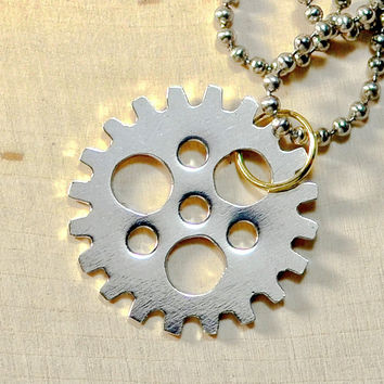 Sterling silver bicycle sprocket necklace