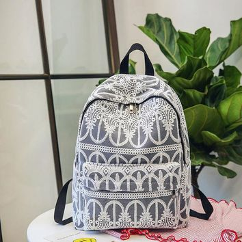 School Backpack trendy Women Solid Color Lace Crochet Backpack High Quality Nylon Solid White Lady Backpacks Travel Embroidery Backpack For School Girl AT_54_4