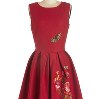 Nishe Sleeveless A-line Garden Dreaming Dress in Red