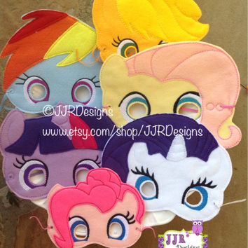 My Little Pony Inspired Felties- My Little Pony Inspired Masks-Rainbow Dash Feltie- Pinkie Pie Feltie- Rarity Mask- Dress up Mask