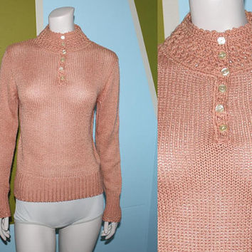 Vintage 90s MUTED CORAL SWEATER / Long Sleeve Knit Top / Mock Neck / Crochet Sweater / Muted Salmon / Grunge, Folk / Medium