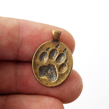 Wolf paw, Wolf pendant, Wolf paw pendant, Wolf necklace, Wolf jewelry, Wolf print paw, Dog paw, Dog necklace, Dog jewelry, Brass necklace