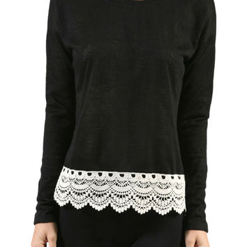 Long Sleeve Sweater With Sheer Lace Trim