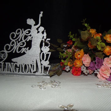 Rustic wedding drunk bride wedding Cake Topper mr and mrs wedding cake topper - wedding Cake Topper Silhouette - wedding cake topper, Funny