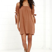 Al Fresco Evenings Brown Off-the-Shoulder Dress