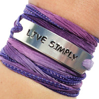 Live Simply Silk Wrap Bracelet Inspirational Words Jewelry With Meaning Yoga Life Engraved Healing Purple Unique Gift For Her Under 50 C2