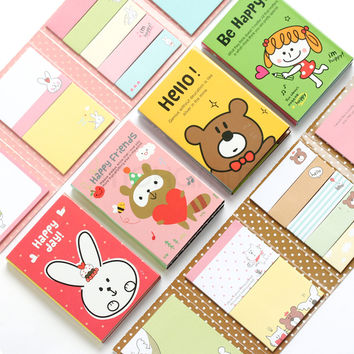 Kawaii Cute Stickers Scrapbooking Paper Set Post It Paper Planner Stickers Sticky Notes Office Supplies Cute Korean Stationery