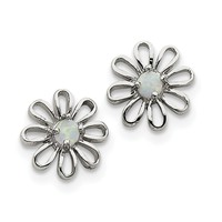 Sterling Silver Created Opal Daisy Post Earrings QE4964