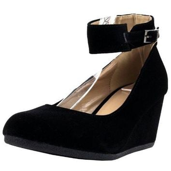 Forever Link Womens Patricia03 Ankle Strap Faux Suede Wedge Pumps