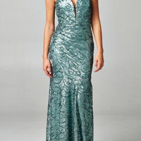 KC131590 Sequin Pattern Evening or Prom Dress by Kari Chang Couture