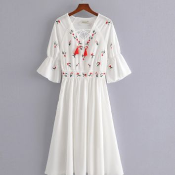 Fairy temperament bohemian national style heavy embroidery dress