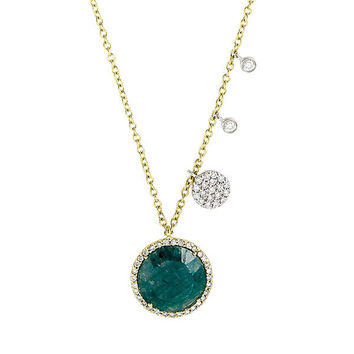 Yellow Gold and Diamond Rough Emerald Necklace with Diamond Accents