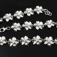 8MM SILVER 925 HAWAIIAN FANCY PLUMERIA ANKLET RHODIUM