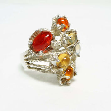 Amber Sterling Silver Ring - Abstract Sandcast style marked 925 - Large Statement Design
