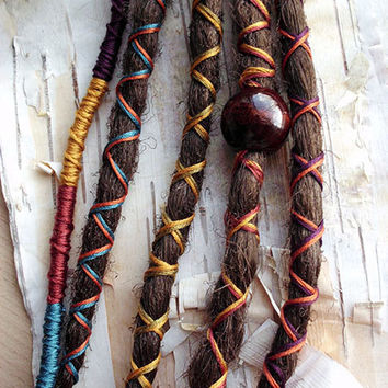 5 Custom Dreads Hair Wraps & Beads Bohemian Hippie Dreadlocks Tribal Falls Synthetic Boho Extensions Hair Accessories