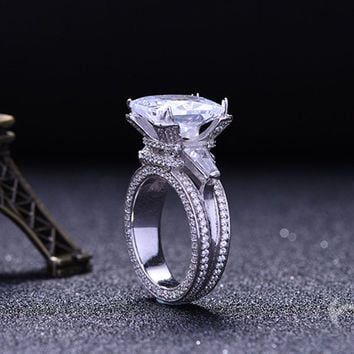 Eiffel Tower Ring Luxury Jewelry Wedding Rings for Women 925 Sterling Silver CZ Knuckle Ring AAA Zircon Vintage Engagement Ring