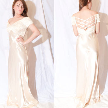 Vintage 1940's Style Creme Gown FREE SHIPPING