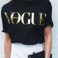 "Black ""Vogue"" Letter Print T-Shirt"