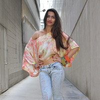 Pink Wide Sleeve Boxy Blouse Womens Clothing  Top Hand Dyed