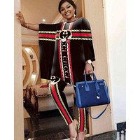 GUCCI Newest Fashion Women Casual Double G Print Long Sleeve Top Pants Set Two-Piece Black