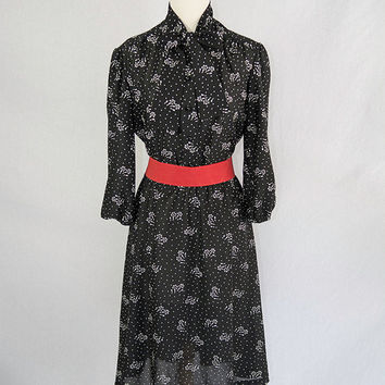 Vintage Pussy Bow Black & White Polka-dot Novelty Day Dress 80s