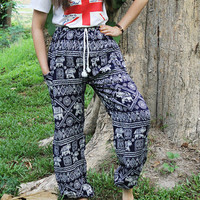 Bangkok pants boho pants Tribal pants elephant pants/bohemian pants/hippie clothes/peacock design/Aladdin Pants/Harem pants/gypsy pants