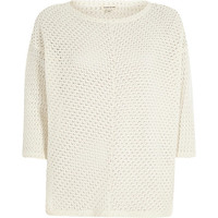 River Island Womens Cream crochet knitted top