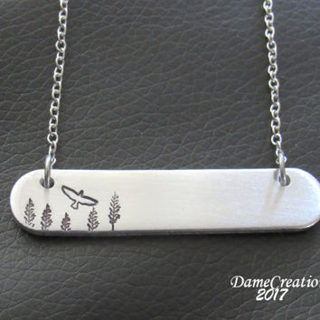 Bird Necklace - Bird Jewelry - Nature Lover Gift - Hawk Necklace - Raven Necklace - Stamped Bar Necklace - Silver Bar Necklace