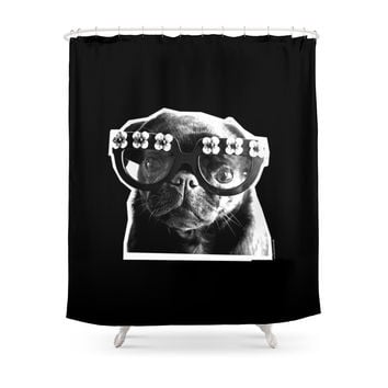 Society6 PUG SUKI - FLORAL SPECS - BLACK AND WHITE Shower Curtain